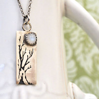 sterling silver tree and moon necklace SLEEPY HOLLOW  bar necklace natural moonstone cab