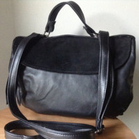Black leather bag.Evening bag, folded shoulder bag. This bag has a short handle, long cross body strap and lots of pockets and space. - Edit Listing - Etsy
