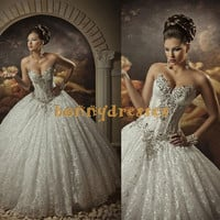 Sexy Ball Sweetheart Illusion Bodice With Shinning Crystals Floor Length Lace Wedding Dresses ,Sleeveless Wedding Dress ,Bridal Gown