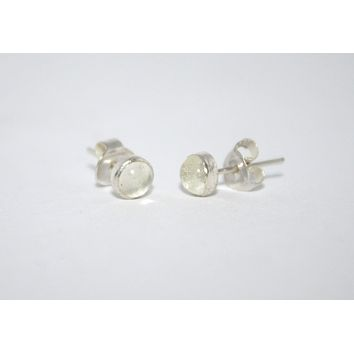 Sterling Silver Earrings, Stud Earrings, Quartz Earrings, Gypsy Earrings