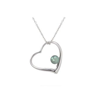 """Black Pearl Open Heart Necklace .925 Sterling Silver, 18"""" Chain"""