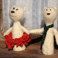 Christmas Teddy Bears, happy new year party set decoration, miniature polar bear, unique gift, red scarf, white wool