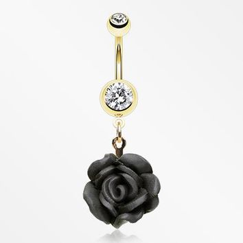 zzz-Golden Rose Blossom Belly Button Ring