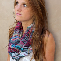 Multicolor Infinity Scarf, Circle Scarf, Eternity Scarf, Raspberry, White, Aqua