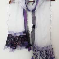 White scarf, white purple scarf, unique scarf, white lace scarf, white scarf female, purple and white scarf, stunning white scarf