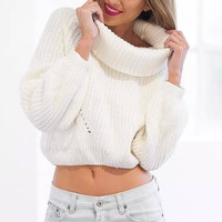 White High Roll Neck Chunky Knit Sweater