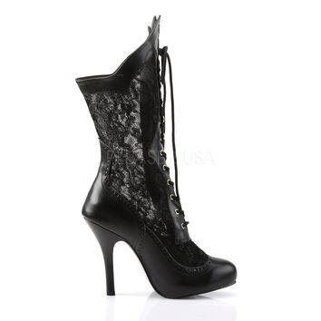 VICTORIAN LACE ANKLE BOOT SHOE 7 - 13 WIDE
