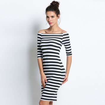 Sexy Striped Bodycon Summer Dress Off Shoulder