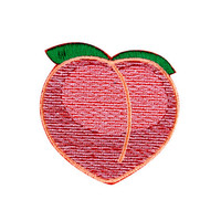 Peach Emoji Embroidered Iron On Patch - FREE SHIPPING