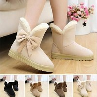 2016 winter new large size bow tube snow boots women warm winter boots with flat cotton boots [8834001996]