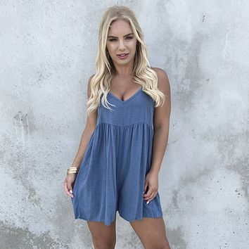 Here's My Chance Romper in Dusty Blue