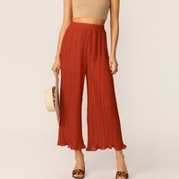 Rust Elastic Waist Pleated Wide Leg Pants Long Trousers Women Casual Streetwear Solid Mid Waist Loose Pants