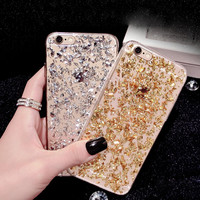 Gold Bling Paillette Sequin Skin TPU Case For iPhone 6 4.7 6S Ultra Slim Rubber Back Cover For iPhone 6 Plus /6S Plus