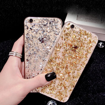 Gold Bling Paillette Sequin Skin Clear Soft TPU Case For iPhone 6 4.7 6S 5 5S SE Slim Rubber Back Cover For iPhone 6 6S Plus 5.5