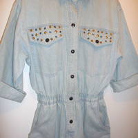 Light Denim Studded Jumpsuit