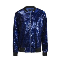 Autumn Women Sequin Coat Green Bomber Jacket