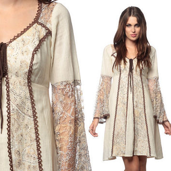 70s Hippie Dress Prairie Lace 60s Bell Sleeve 1970s Bohemian Paisley Sheer Corset Hippie Boho Lace Up Brown & Cream Cotton Vintage Medium M