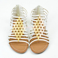 Crixus Valley White Strappy Sandals