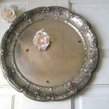 Vintage Silver Plate Ornate Round Serving Platter Tray, Rustic Shabby Chic Decorative Metal Tray, Wedding Decor, Farmhouse Tray, Gift Ideas