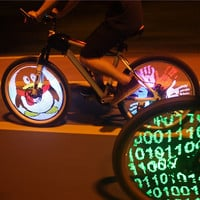 DIY  Programmable Bicycle Spoke Bike Wheel LED Light Double Sided Screen Display Image for Night Cycling