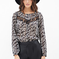 LOVE 21 Abstract Print Blouse Black/Beige