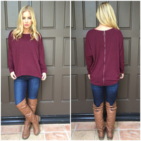 Wine Love Zip Back Sweater