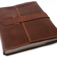 Attaché Rustic Handmade Leather Journal, Refillable Pages (15cm x 20cm)