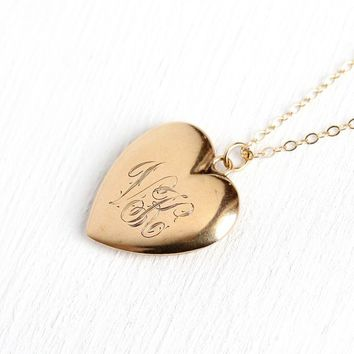VK Heart Pendant - Edwardian 14k Rosy Yellow Gold Monogrammed Letter Necklace - Antique 1900s Puffy Charm Fine Initials Jewelry