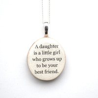Mother daughter necklace going away gift mothers day jewelry mother child gift  reclaimed wood gift