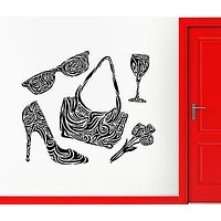 Wall Sticker Vinyl Decal Purse Shoes Women's Fashion Glamour Beauty Unique Gift (ig1882)