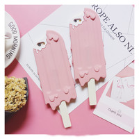 New 3D Pink  Popsickle/ Ice cream phone case for iphone 6 6s 6plus 6splus 4.7inch 5.5inch rubber case covers