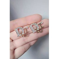 Free shipping-Dior diamond D letter female models wild earrings Silver