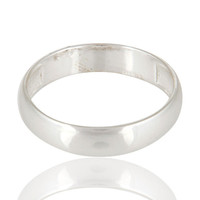 Solid Sterling Silver Wide High Polished Plain Engagement / Wedding Band Ring