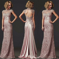 FG33 Custom Made Long MermaId Lace Evening Dress 2016 Formal Beaded High Neck  Mother of the Bride Dress Vestido de festa longo