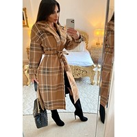Checkmate Plaid Collared Trench Coat