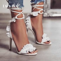 Cross Bandage High Heels Thin Heel Ruffle Lace-Up  Sandals