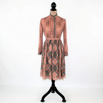 Vintage Clothing 70s Dress XS Small Brown Midi Long Sleeve Pleated Secretary Dress Belted Shirtwaist Dress 1970s Vintage Clothing Women