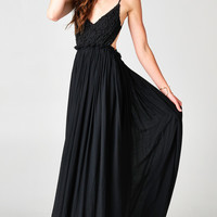 BLACK BLOSSOMING CROCHETED BACKLESS MAXI DRESS