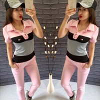 Summer Pullover Short Sleeve Hoodies Women's Fashion Sportswear Set [11055909831]
