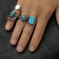 Vintage MENS Turquoise RING Native American Indian Jewelry, Sterling Silver NAVAJO Rings, Large Signet Size 12, Fathers Day Gift for Him