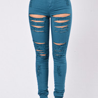 Roll Out Jeans - Teal