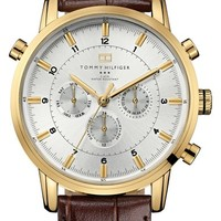 Men's Tommy Hilfiger Round Chronograph Leather Strap Watch, 44mm