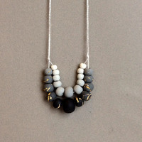 Gray Black and Gold Foil Ombre Double Strand Necklace