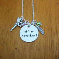 """Peter Pan Inspired Necklace. """"Off to neverland"""". Swarovski elements crystals. Hand Stamped. WithLoveFromOC. Peter Pan gift. Never land."""