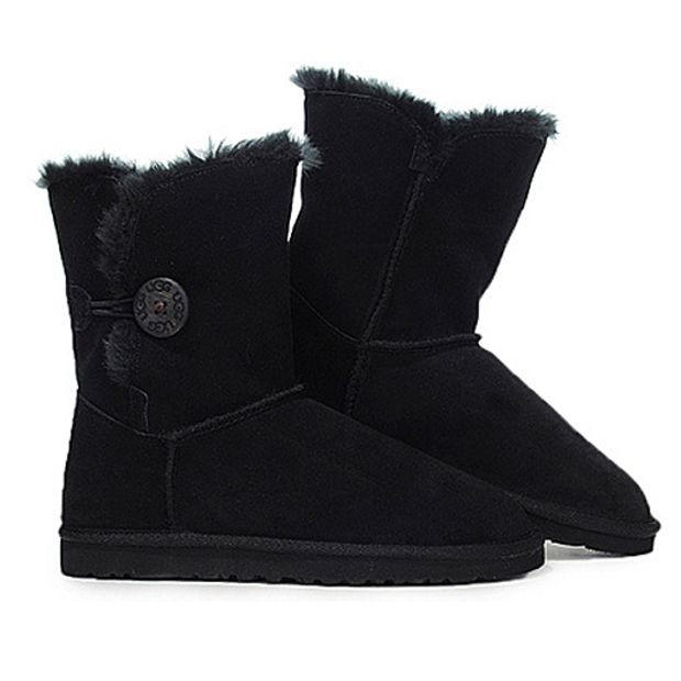 """Image of """"UGG"""" Women Fashion Wool Snow Boots Calfskin Shoes Black"""