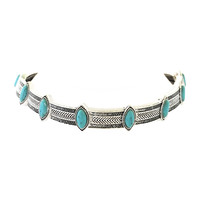 Titanium Choker Necklace In Silver & Turquoise