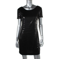 DKNYC Womens Sequined Short Sleeves Cocktail Dress
