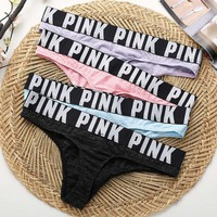 Fashion Pink Victoria's Secret Woman Multicolor Thong T-back Panty Underpant Brief