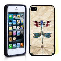 Vintage Dragonflies Retro iPhone 5 Case - For iPhone 5/5G Designer TPU Case Verizon AT&T Sprint