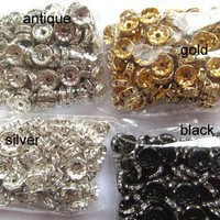 high quality rondelle spacer tone silver rose gold  antique black mixed crystal rhinestone assortment jewelry finding 10mm 400pcs